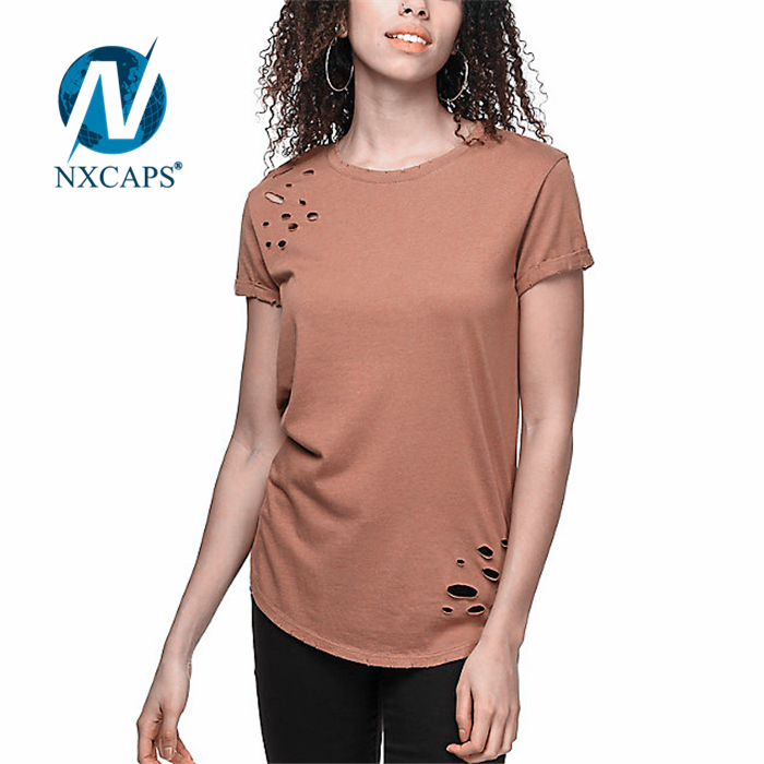 Women Distressed hole t shirt with radium print t-shirt pima cotton tees