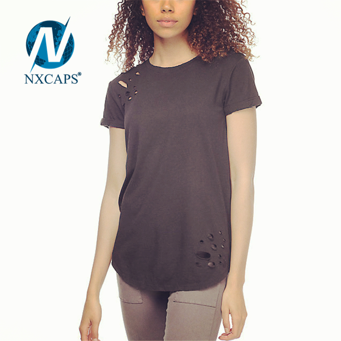 Distressed t shirt O neck Classic short sleeve dry fit tees womens plain t shirt Classic custom women