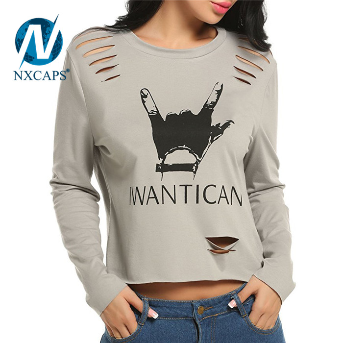 Women crop top sweatshirt hole t shirt cotton plain short sleeve tees slim fit tshirt