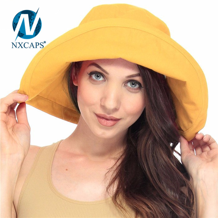 Style beach hat orange women summer hats custom bucket hat wide fold up brim sun hat cap