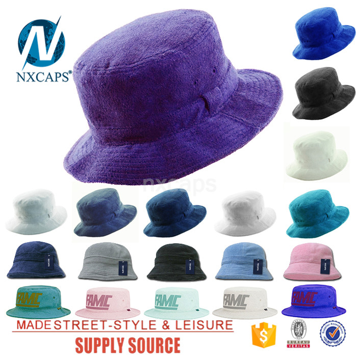 Blank terry towel Rollable bucket hat packable plain pacific cotton Purple basin cap colorful fisherman hats