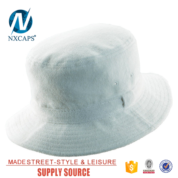 White warm terry towel bucket hat Factory price Promotional Hunting Fishing Outdoor fisherman hats