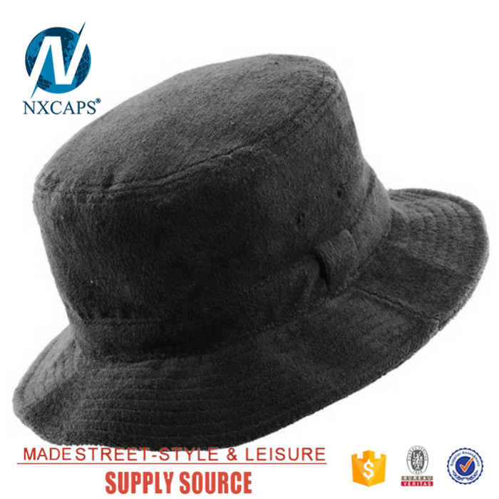 Terry towel bucket hat Factory price black sports cap Promotional Hunting Fishing Outdoor fisherman hats