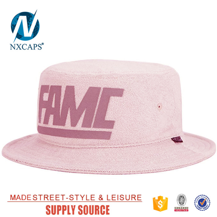 Women pink terry towel basin hat wide brim bucket plain sweat uptake bucket hat blank fisherman cap