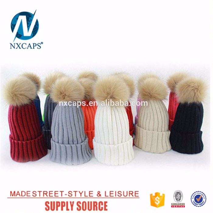 Custom marten real fur pom pom winter knitted beanie hats women straight needle knit hat patterns hat