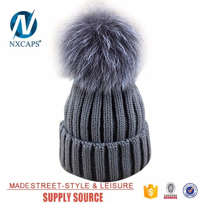 12a33a06fadf4 Colorful pom poms Womens Girls Winter Fur Hat Real Large Raccoon Fur ...