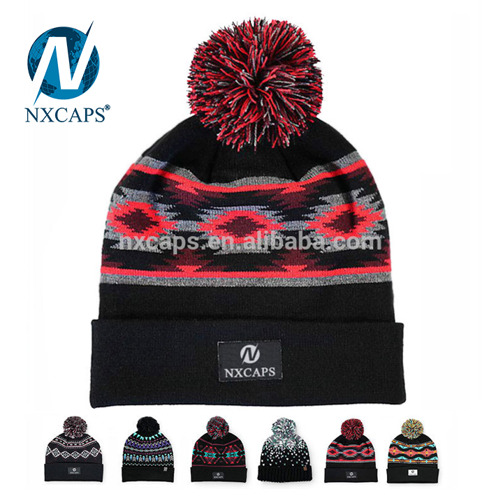 1aaa5a53b51 ... Custom Plain jacquard knitted pom beanie hats Winter Ladies men Fashion  HatsWholesale factory cheap manufacture ...