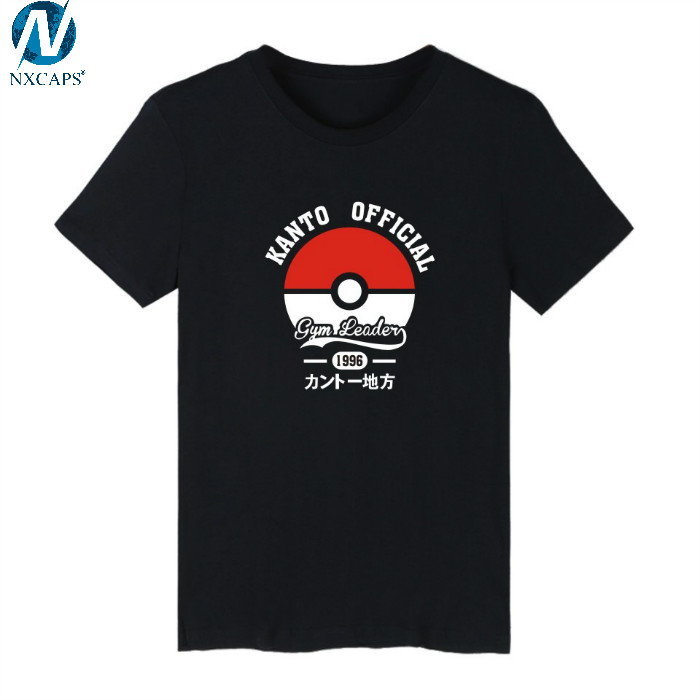 Custom Blank Cotton Black&White&Grey Three color classic Master Ball in Pokemon Go 4XL Printed T Shirt Men Short Sleeve T-shirt