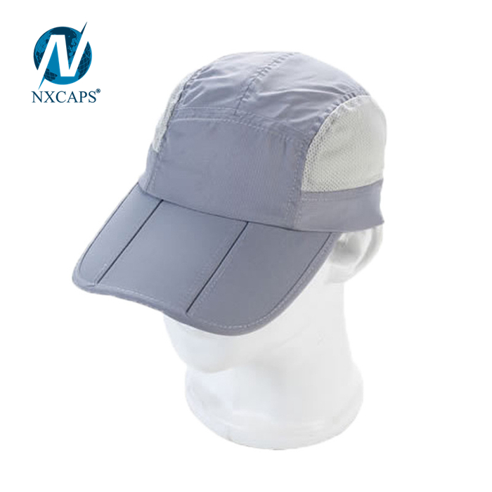 Long bill baseball cap packable mesh trucker hats blank Rollable 5 panel cruve sport dry fit hat