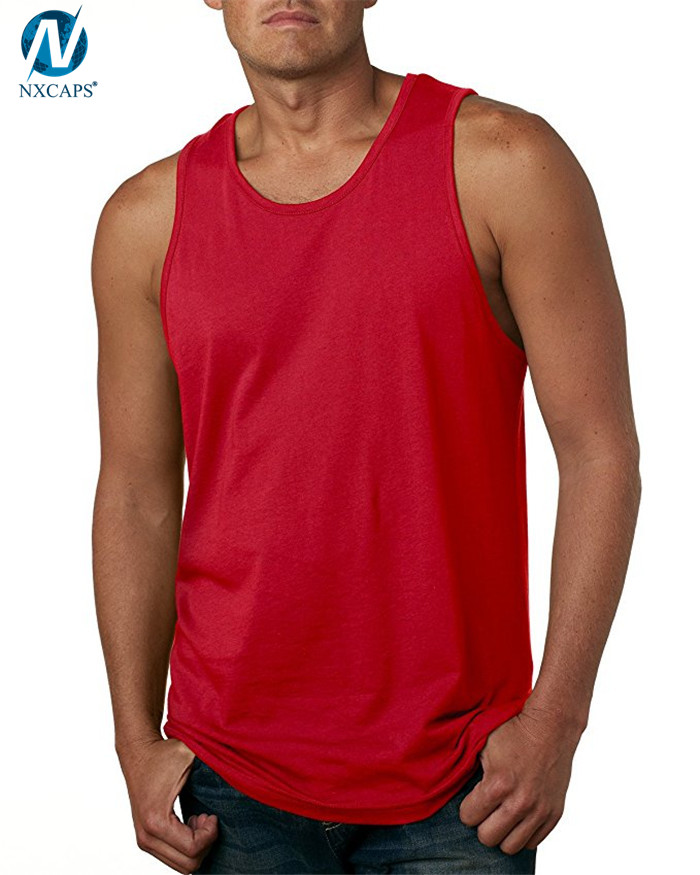 Stylish mens jersey tank top fitness gym tank tops 100% cotton singlet plain sleeveless t shirt