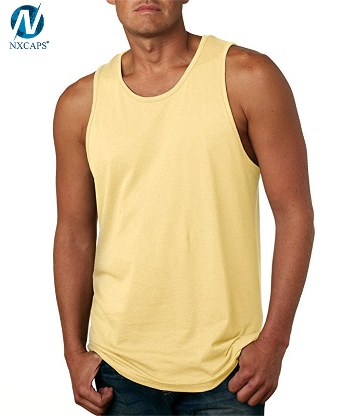 100% cotton jersey tank top men gym singlet custom label sleeveless sweater blank tank tops wholesale
