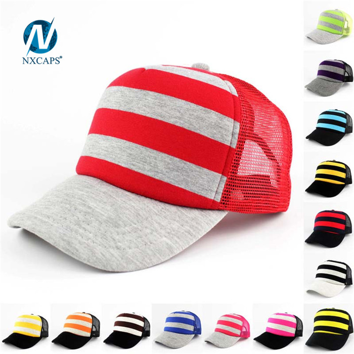 Foam and mesh kids trucker cap striped 5 panel mesh baseball caps gorra snapbacks hat