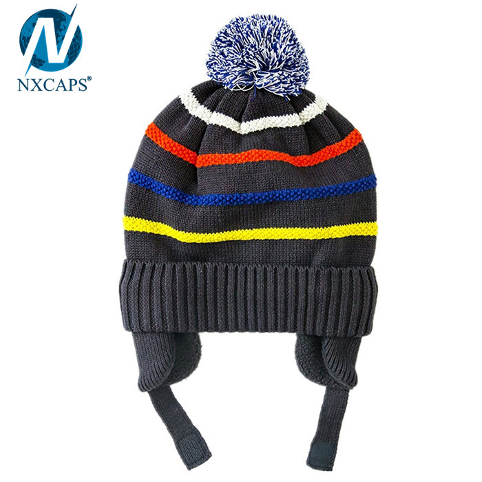 100 cotton kids beanies earflap beanie hat striped children knitted hats cuff winter cap with top ball