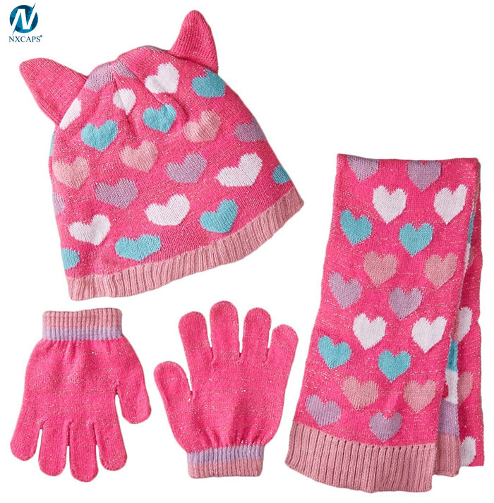 Wholesale knitted scarf hat glove sets jacquard beanie gloves and scarf for girls
