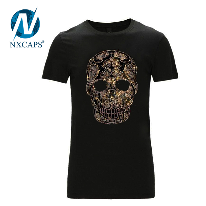 Rhinestone skull t shirt cool bling hip hop t-shirt fashion style hot sell America and Europe pop tees
