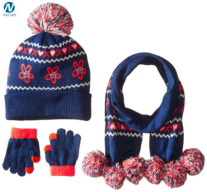 bcb66dad5c3 ... Wholesale jacquard scarf hat glove sets knitted hat and scarf baby pom  pom hats custom ...