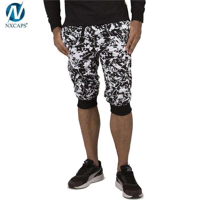 Wholesale 3/4 men's short pants custom printed jogger shorts fleece short pants man