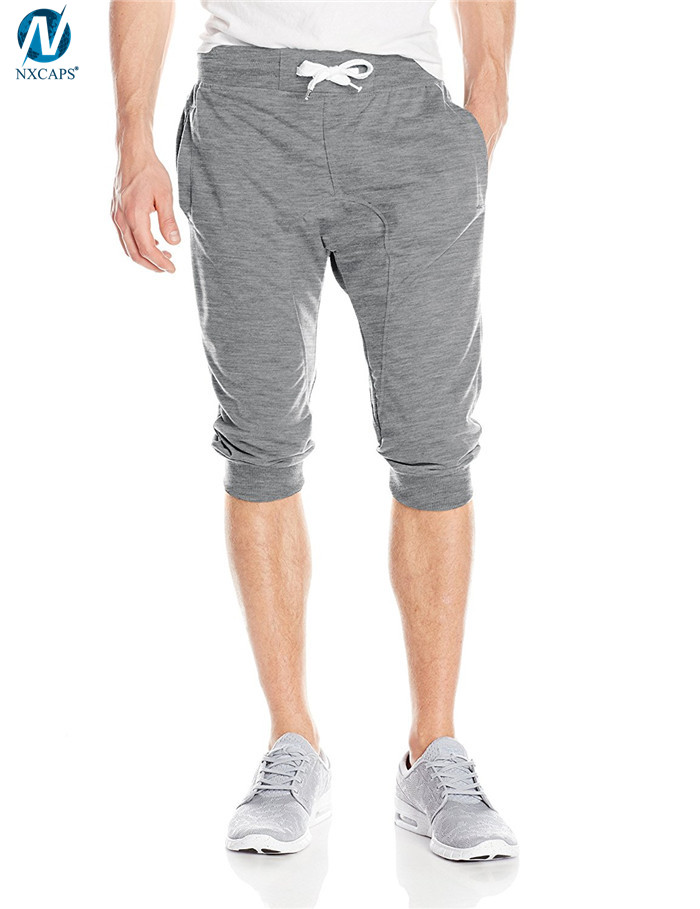 Blank jogger pants men short pants drawstring waist shorts 100% polyester short pant