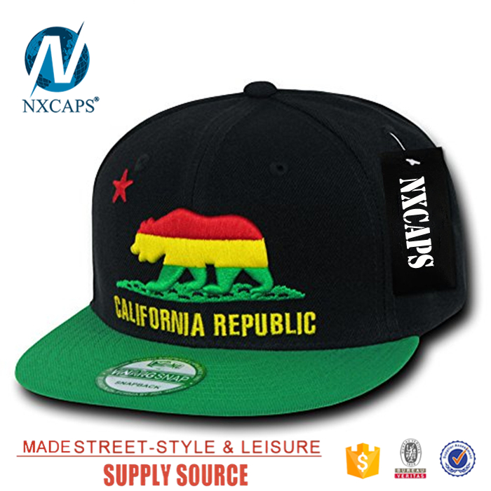 Embroidery bear snapback hat two tone California Republic 6 panel  two tone Snapbacks cap own sticker