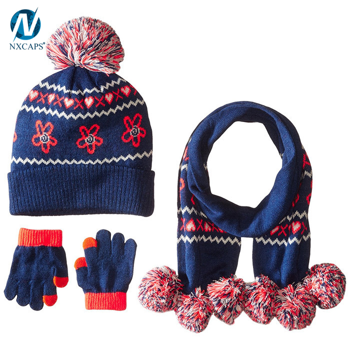 Wholesale jacquard scarf hat glove sets knitted hat and scarf baby pom pom hats custom