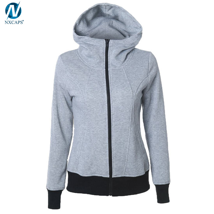 Solid color zipper hoodie high neck hoodies women comfy sweatshirt blank hooded sweatshirt