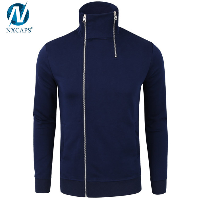 Cotton men high neck hoodie full zip hoodie fleece hoodies  split kangaroo pocket hooded sweatshirt