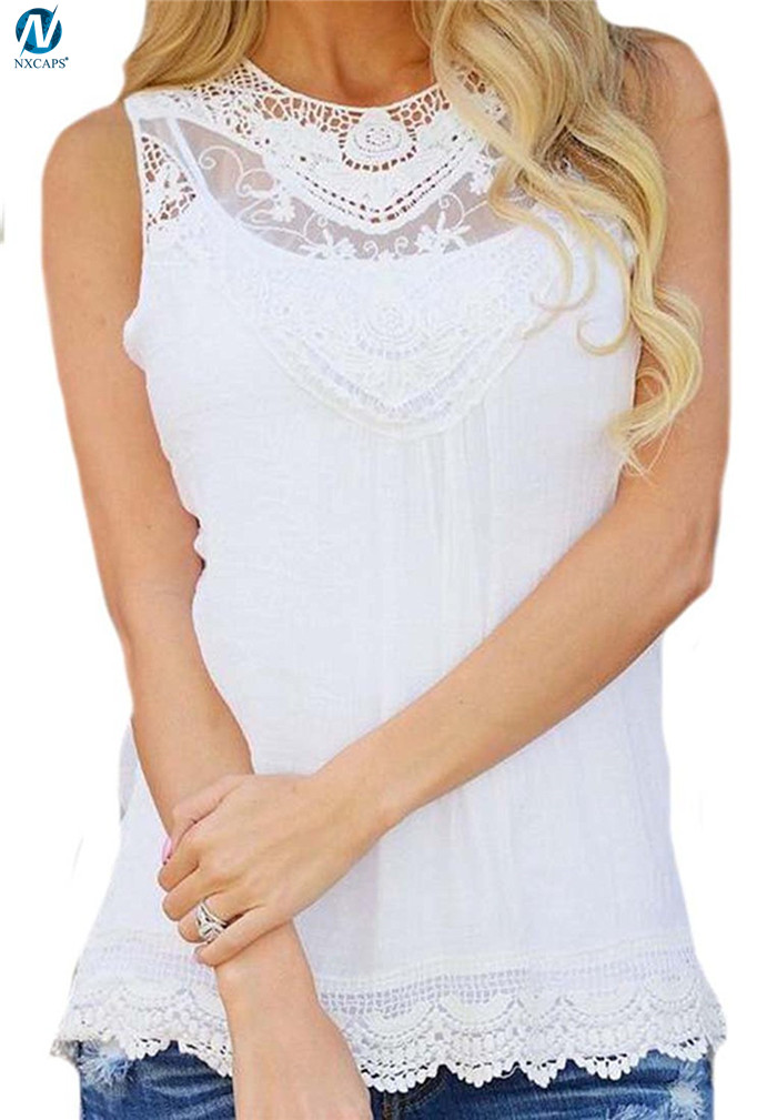 Womens lace shirt sleeveless lace tank top scalloped round neck tee classic white tank top wholesale