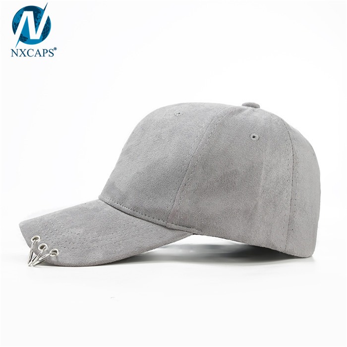 Classic pierced cap suede baseball cap with metal ring Hip Hop Cap Plain Soild Snapback Baseball Hats