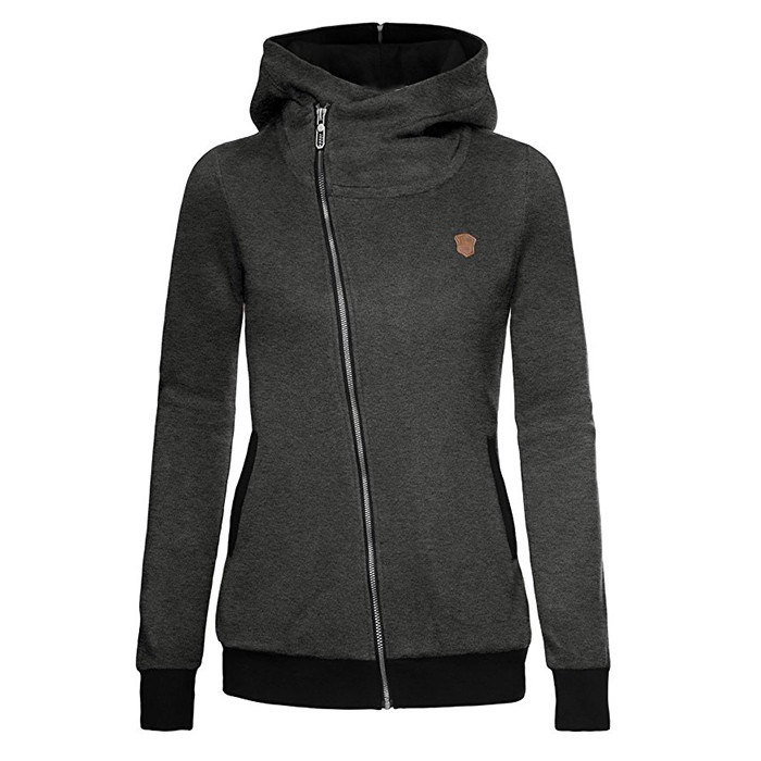 Women's Oblique Full Zip-up Jacket Coat Asymmetric Neoprene Hoodie