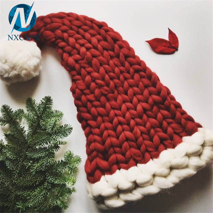 Christmas Santa Knit Hat 60cm Decorate Long Crochet Knitted Fleece Fluffy Bobble Hat