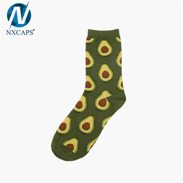 Elastic jacquard socks mens 100% cotton avocado socks women sock custom non slip skid pilates yoga dance sport workout