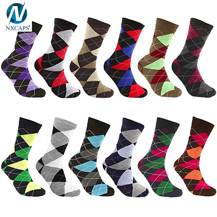 Custom Men Argyle Pattern Assorted Color Cotton Casual Work Business Sock