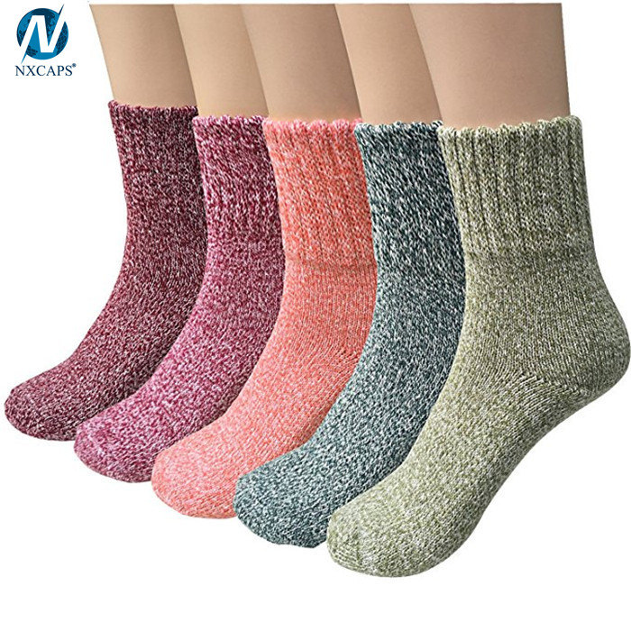 Women Wool Socks Thick Cable Knit Warm Winter Soft Fuzzy Plain Color Ankle Sock
