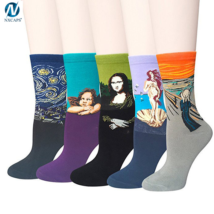 Custom Logo Combed Cotton Casual Funny Art Socks