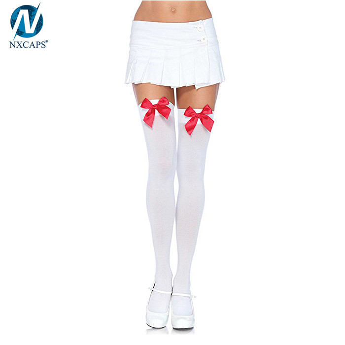 9c1deae8cefaa Lady Opaque Stocking Sock Thigh High Tights Knee High Bow Socks With Satin  Bows ...