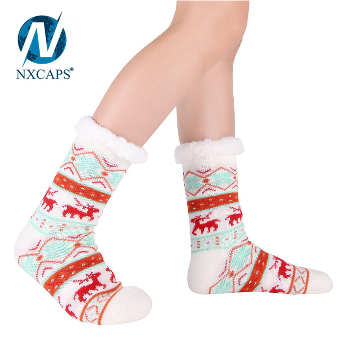 Customized Women's Warm Fleece-Lined Cozy Thick Winter Slipper Socks-Christmas Stockings