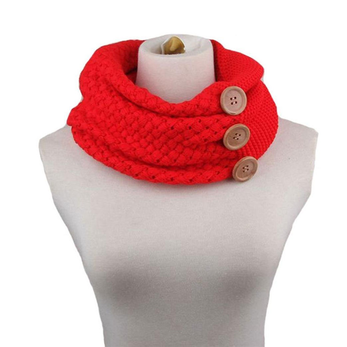 Solid color cable knit scarf 2017 warm winter two circle crochet wool blend loop scarves wholesale