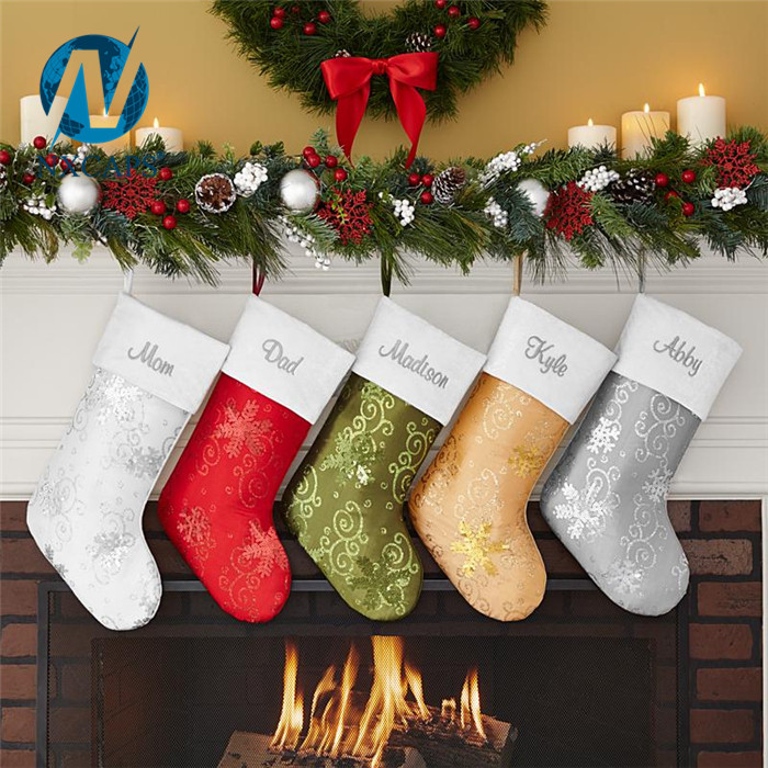 Big size Christmas sock decoration party fancy items handmade gift craft stripe big size christmas sock decoration for sale