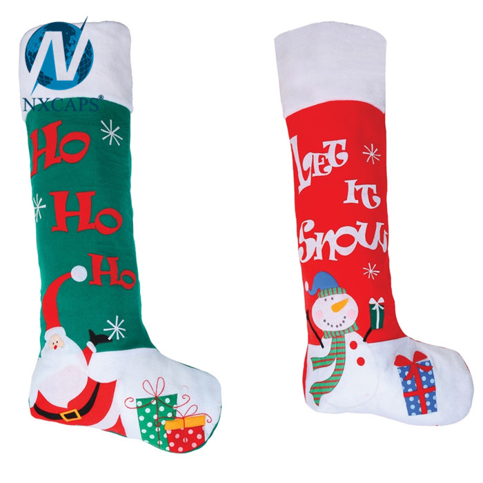 Cotton Fabric Big size Christmas sock decoration party fancy items handmade gift patch socks for sale