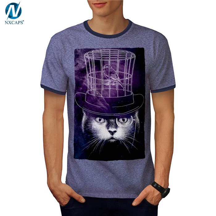 Custom design ringer tee mens graphic tee soft short sleeve summer t shirt crew neck tees whloesale