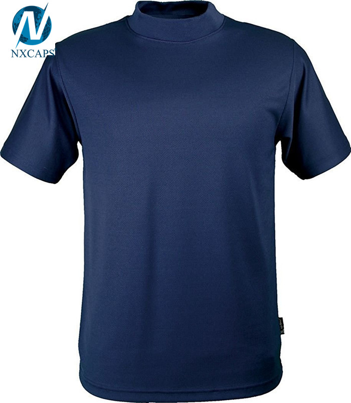 100% polyester turtleneck t-shirt plain tee shirts men casual short sleeve t shirt wholesale