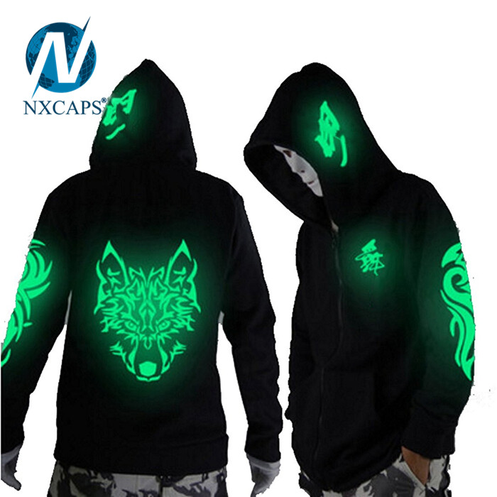 Glow In The Dark Skeleton Hoodie Easy Halloween custom black Solid Color plain hoodies young Sweatshirt hoody jacket