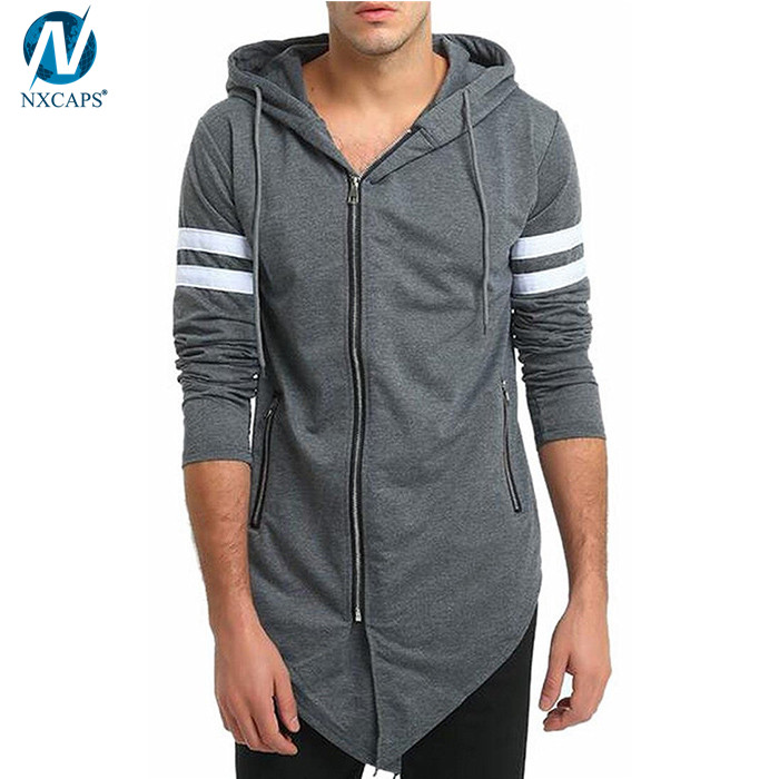 Stylish asymmetric hoodie with side zip hooded jacket mens long sleeve cotton blend hoodies