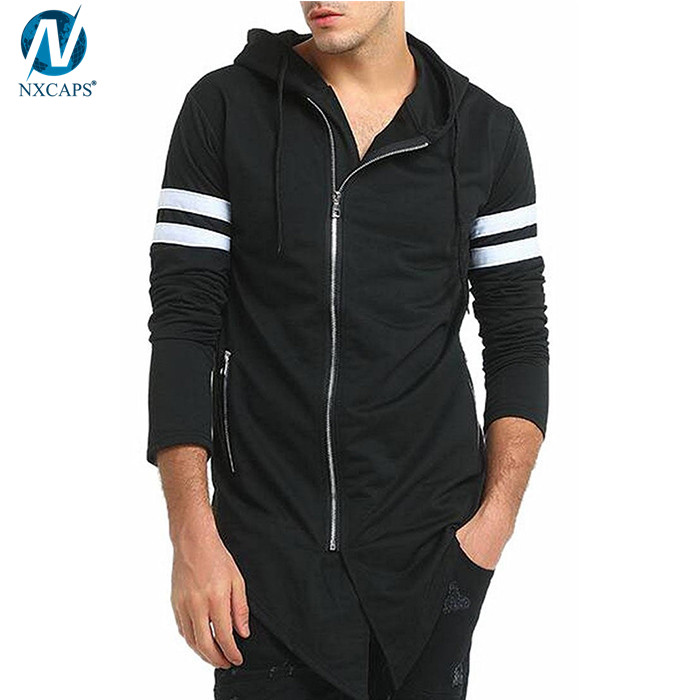 Long sleeve asymmetric hoodie with side zip hooded jacket mens front side zipper custom