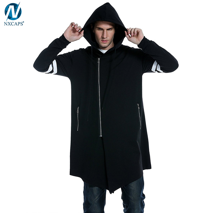 Wholesale fashion long asymmetric hoodie men hooded sweatshirt long sleeve zipper hooded jacket custom