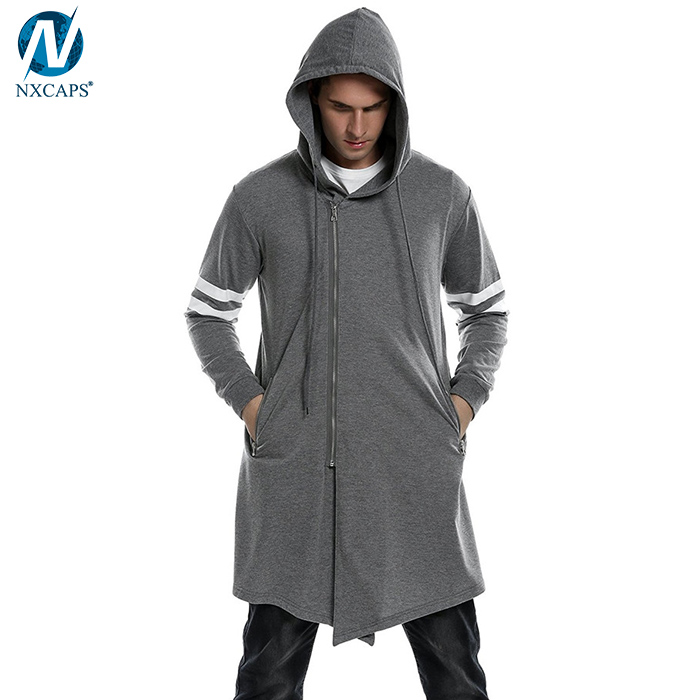 Mens fashion long asymmetric hoodie long sleeve outwear men's zipper closure hooded jacket custom