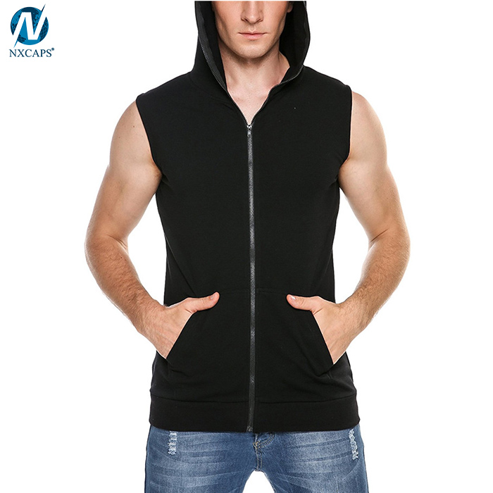Wholesale black sleeveless hoodie plain funny zipper hooded gym tank top form men out door sport hoodie sweatshirt