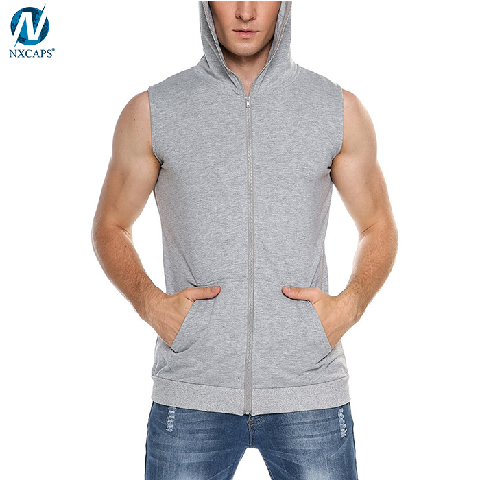 Cutsom gym sleeveless hoodie mens full face zip hoodie 65% cotton 35% polyester blank hooded gym tank top