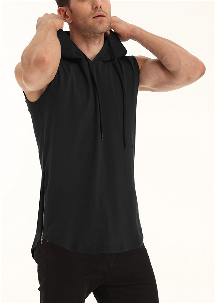 100% cotton black sleeveless mens hiphop hoodie size zipper hooded t shirt hipster tank top with adjustable drawstring