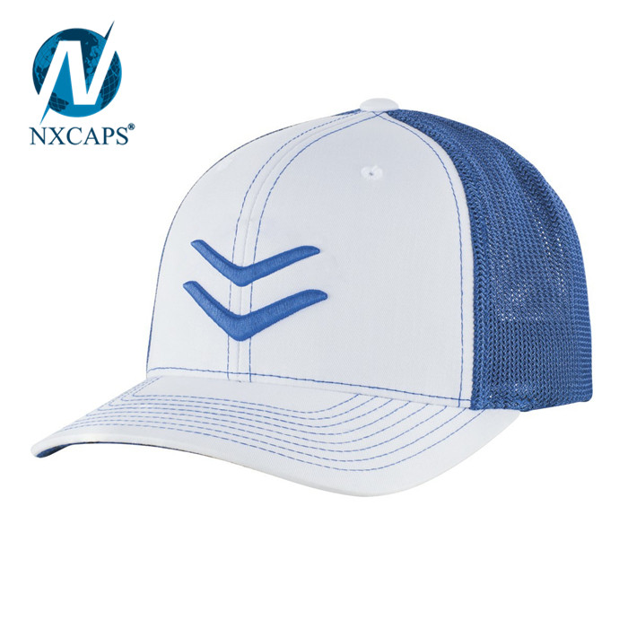 SPEED STRIPE MESH FLEX FIT HAT WHITE and ROYAL blue mesh baseball cap Wholesale custom sports 3D embroidery outdoor caps